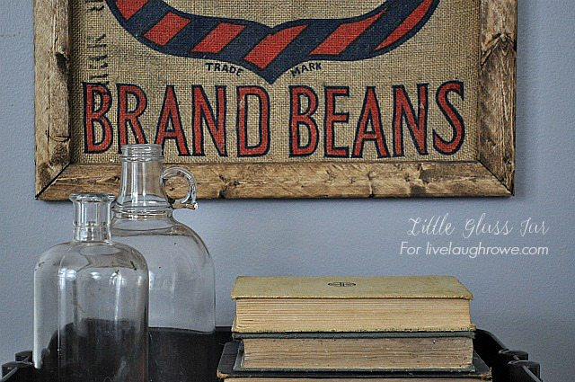 Create a rustic masterpiece with this DIY Bean Sack Art by Little Glass Jar for livelaughrowe.com