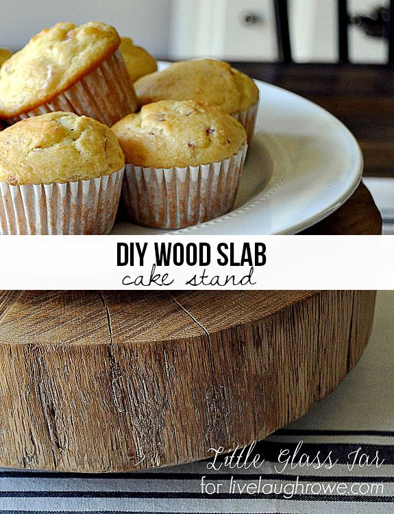 Awesome!  A rustic DIY Wood Slab Cake Stand.