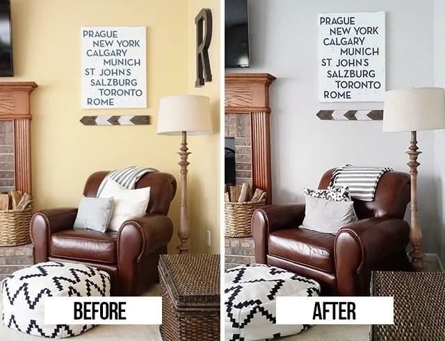 Before and After pcitures of new paint color in our living room!