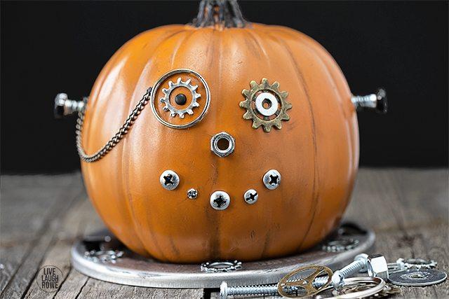 Easy DIY Steampunk Pumpkin, a fun and whimsical mechanical wonder. A unique Halloween pumpkin that's sure to be a conversation starter. A great kids craft too. www.livelaughrowe.com