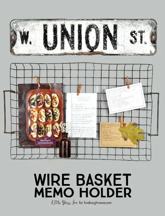 Wire Basket Memo Holder. Hang a metal basket, add cothes pins to showcase memos or recipes!