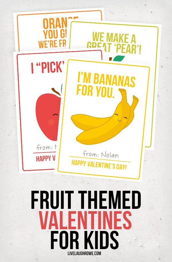 Go bananas with these adorable Fruit Valentines for Kids! livelaughrowe.com