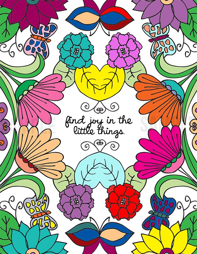 Finding Joy in the Little Things -- color! Grab your colored pencils, markers or crayons and do a little coloring. livelaughrowe.com