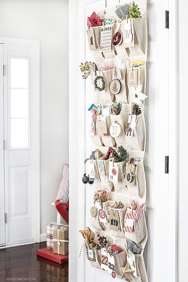 Adorable Woodland Inspired Advent Calendar using an over-the-door organizer. livelaughrowe.com