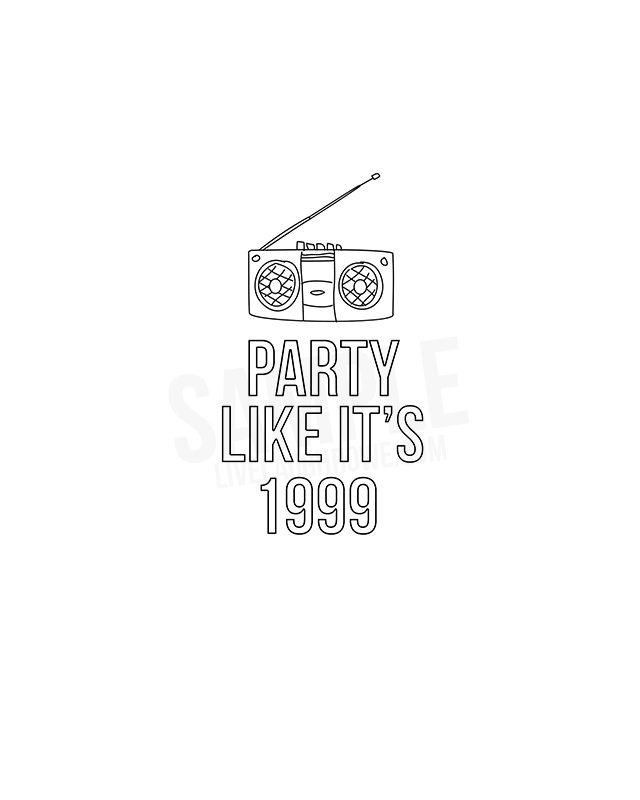 Party Like It's 1999 Coloring Sheet -- great for a themed party! livelaughrowe.com