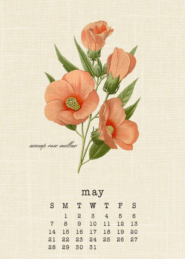 Gorgeous May 2017 Botanical Calendar. livelaughrowe.com