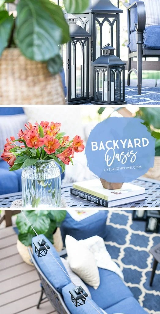 St. Louis blogger transforms her deck from drab to fab by creating a beautiful backyard oasis! livelaughrowe.com