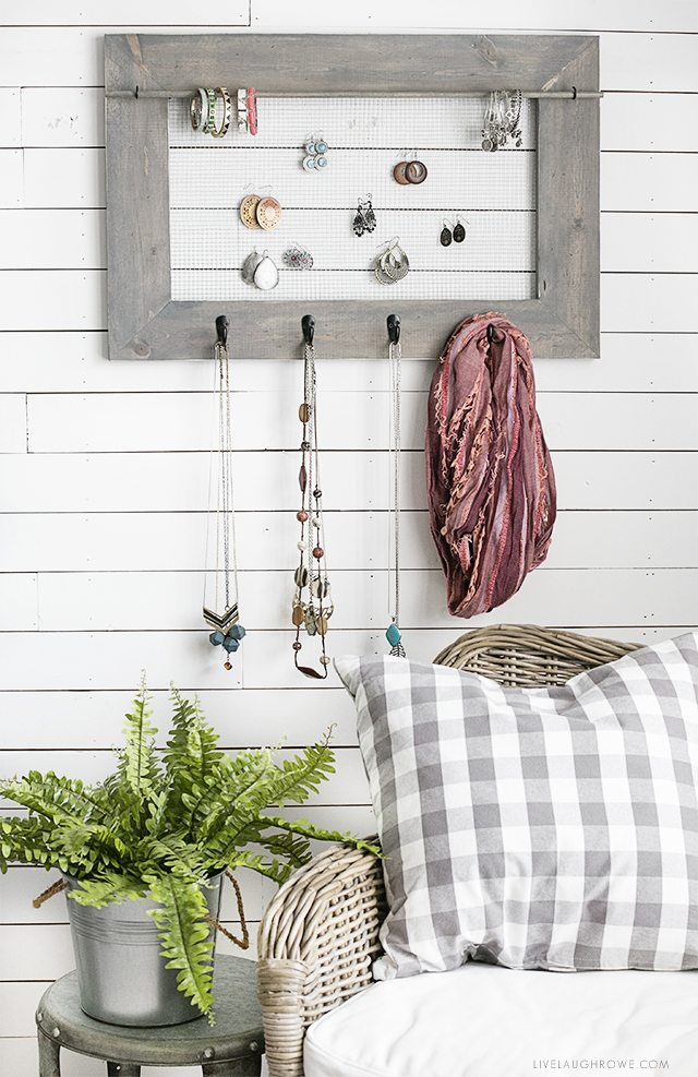 DIY Jewelry Organizer with a bit of farmhouse charm. Full tutorial at livelaughrowe.com
