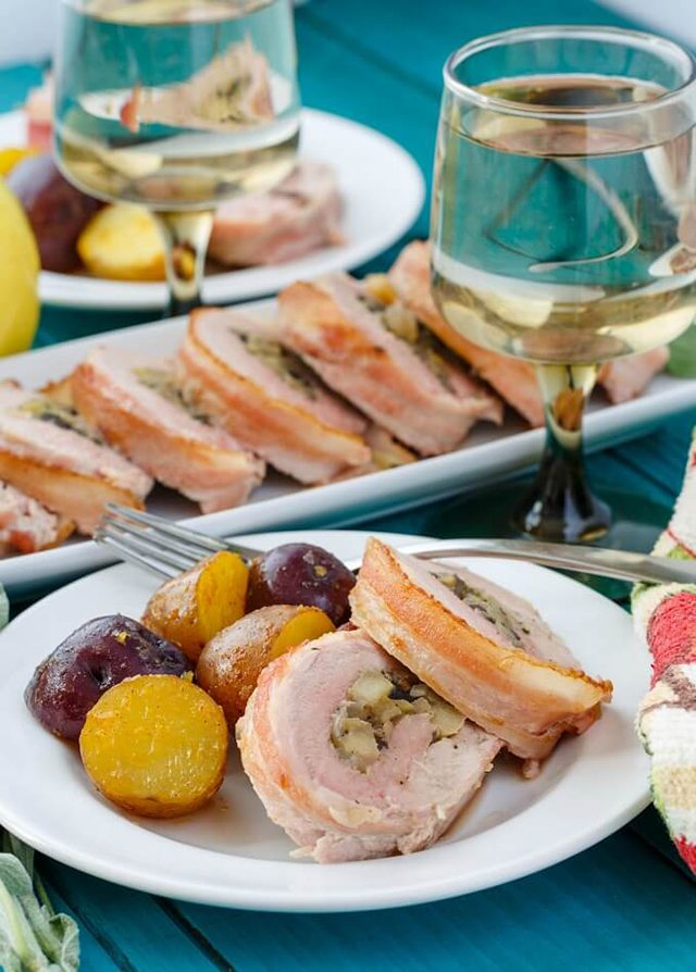 Father's Day BBQ Party Ideas. Bacon Wrapped Apple Stuffed Pork Tenderloin.