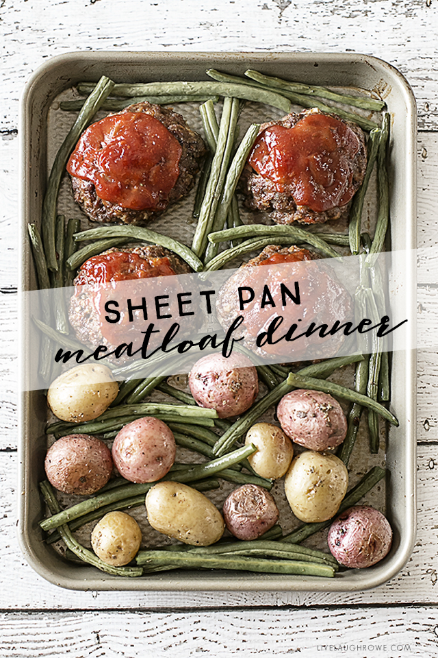 Sheet Pan Recipe for a Mini Meatloaf Dinner that includes baby potatoes and fresh green beans! This recipe is sure to be a crowd pleaser -- add to your weekly meal plan today! livelaughrowe.com