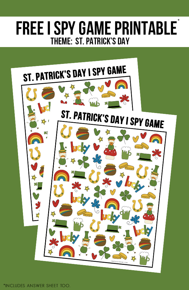 Looking for a St. Patrick's Day Activity for the kiddos? How about this I Spy Game printable? It comes with an answer sheet and answer key too! Print yours at livelaughrowe.com