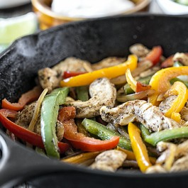 Ever wonder How to Make Chicken Fajitas in a Cast Iron Skillet? Yep, one skillet does it all in less than 30 minutes with this easy fajita recipe. Learn more at livelaughrowe.com