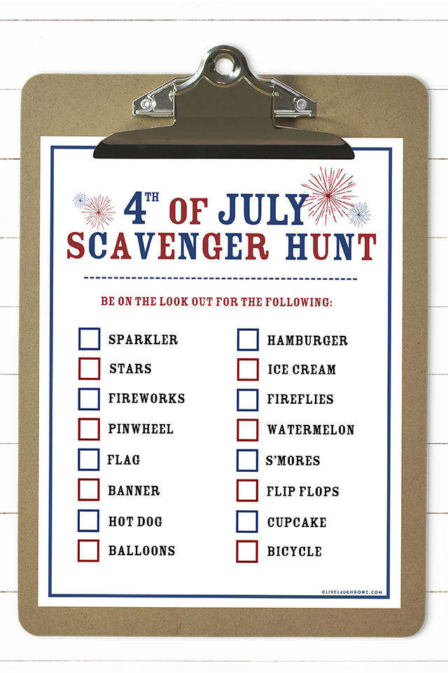 Printable 4th of July Scavenger Hunt activity for kids! A great way to keep the kids busy for short period of time. Print yours today at livelaughrowe.com
