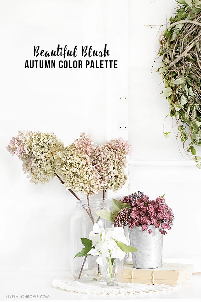 Lovely Blush Autumn Color Palette. The blush pinks, greens and muted blues paired with vintage pieces really look beautiful together. livelaughrowe.com