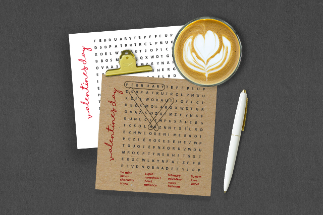 Free Word Search Game Styled with coffee and pen