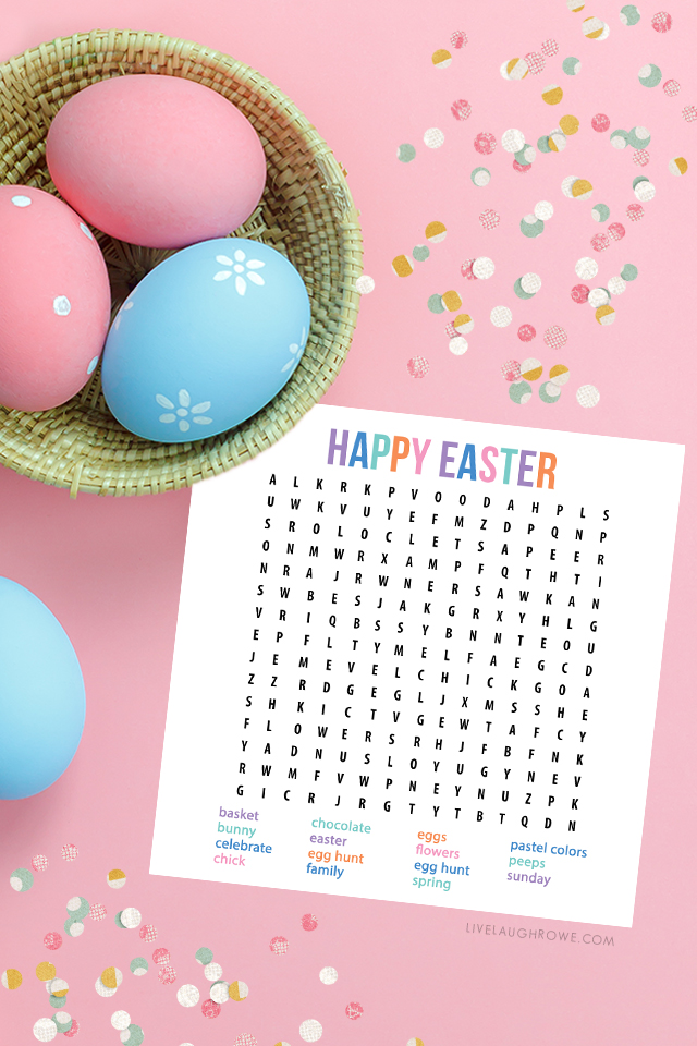 Word Search with Confetti and Basket of Decorated Eggs