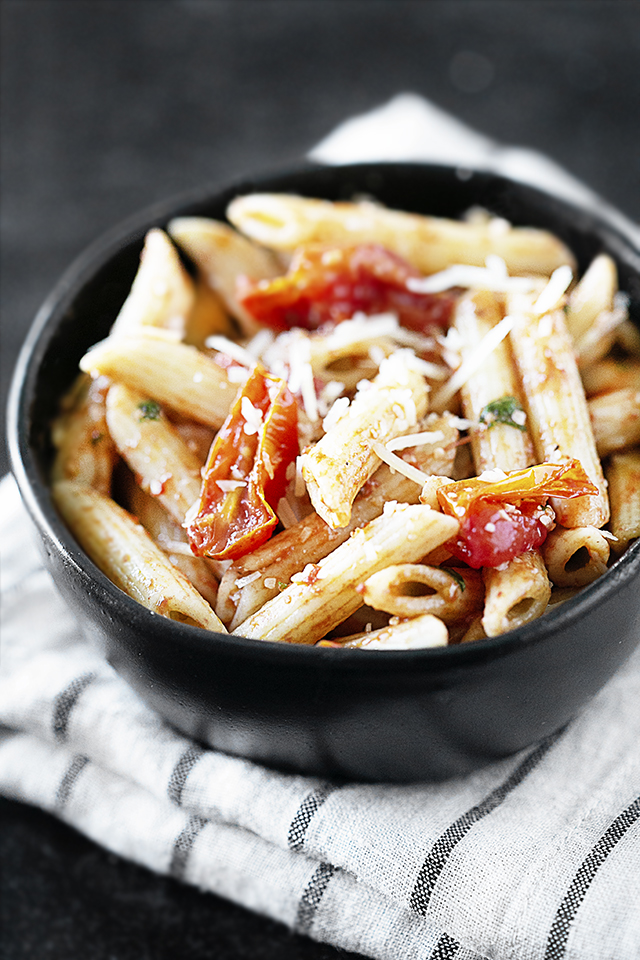 Oven Roasted Cheery Tomatoes with Penne Pasta