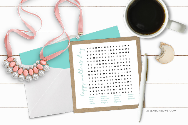Mother's Word Search. Printable Word Game