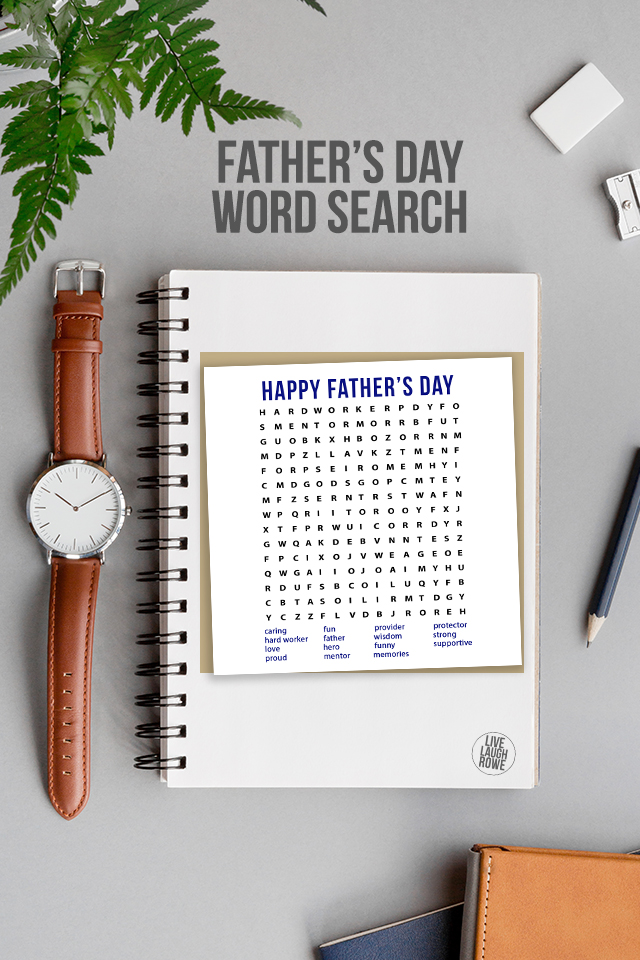 Fathers Day Word Search Styled with Notebook