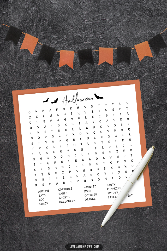 Halloween Word Search with Orange Paper Frame