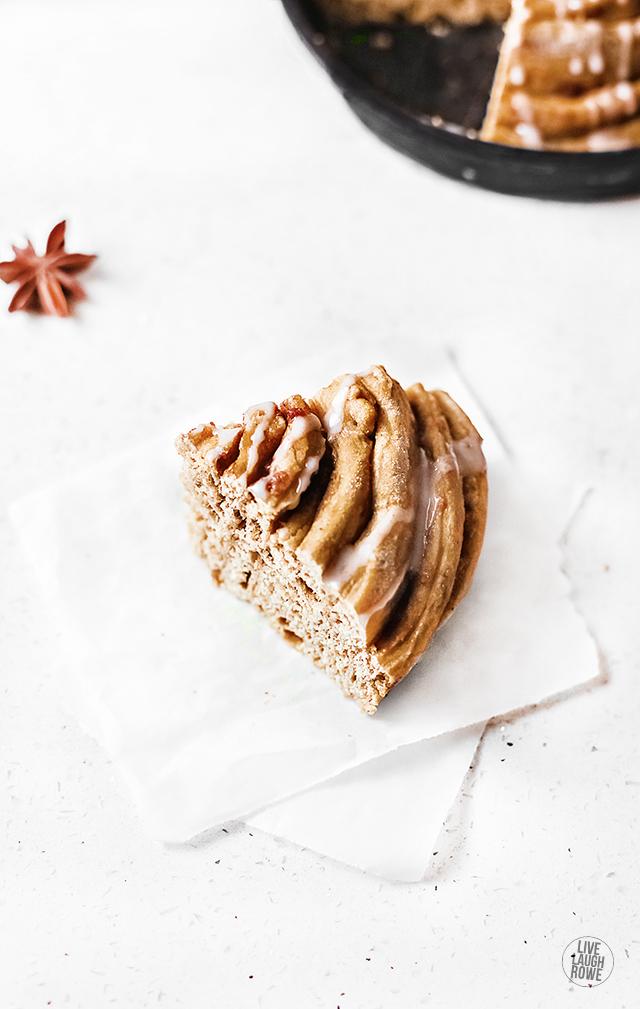 Slice of Cinnamon Roll Cake