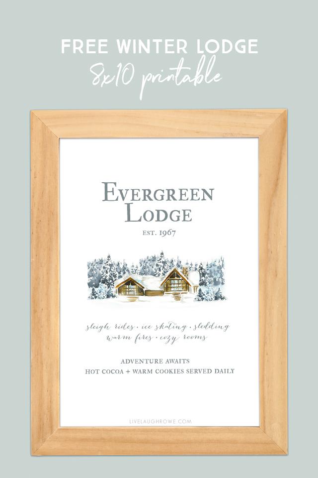 Evergreen Lodge Winter Printable