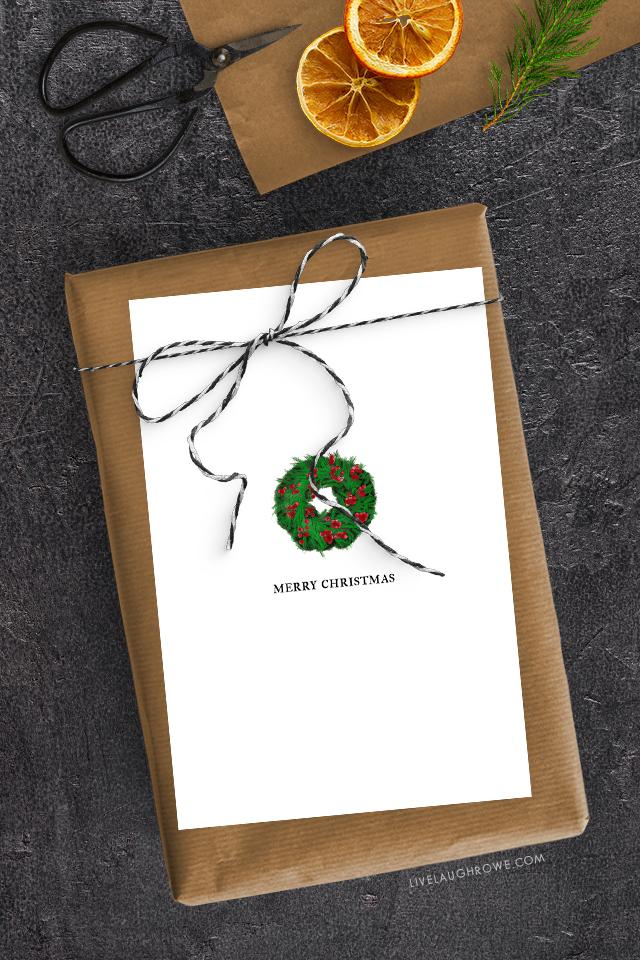Free Printable Christmas Card with Wreath