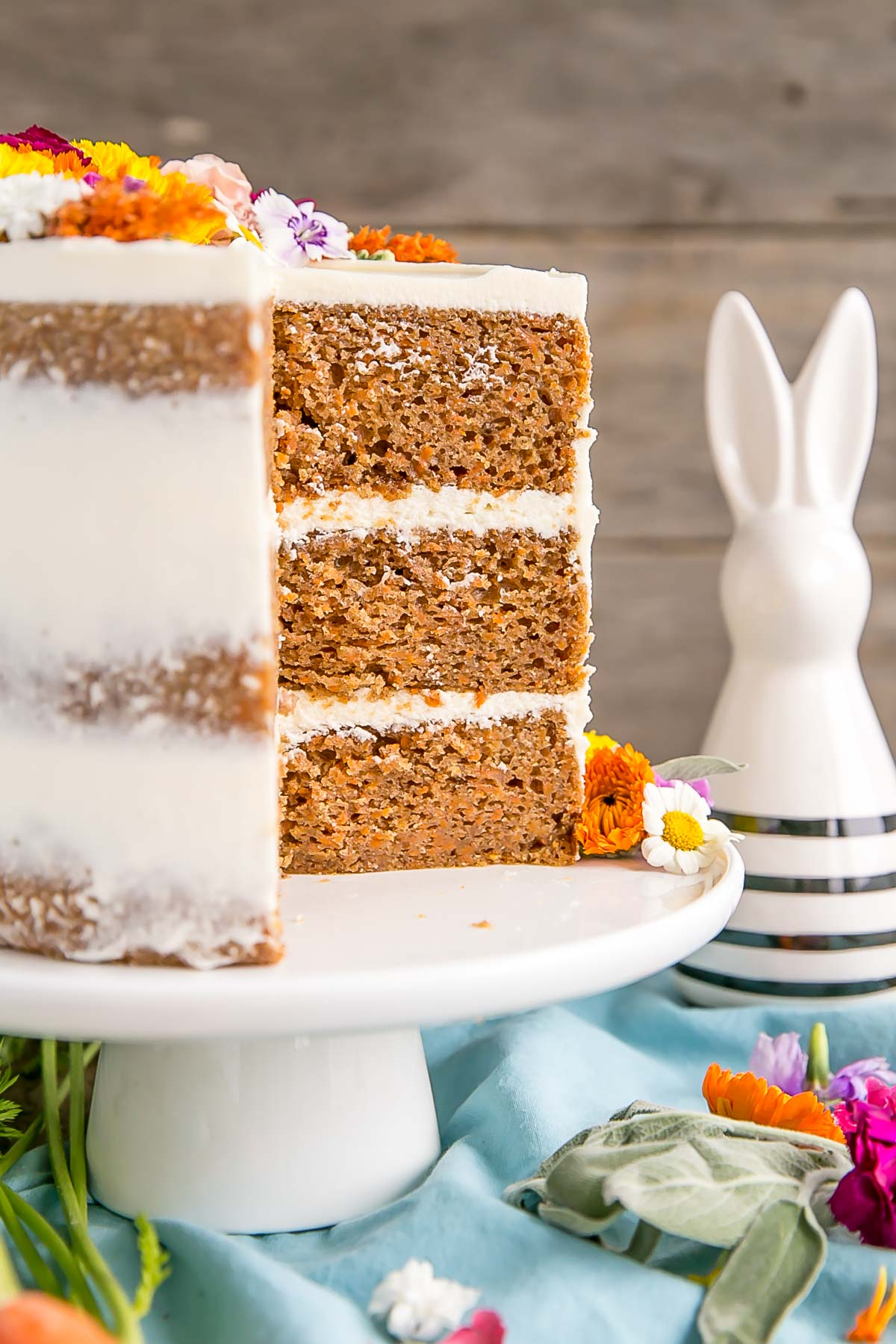 Carrot Cake with Cream Cheese Frosting   Liv for Cake Naked carrot cake with edible flowers