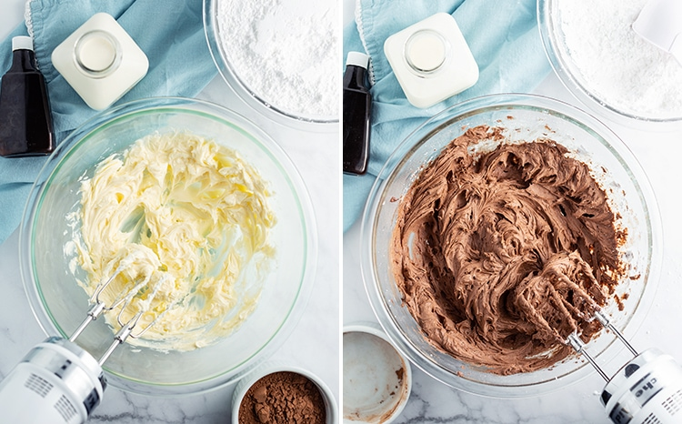 Two photos how to make buttercream frosting