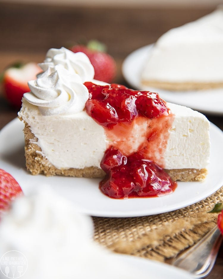 No Bake Cheesecake topped with fresh strawberry sauce