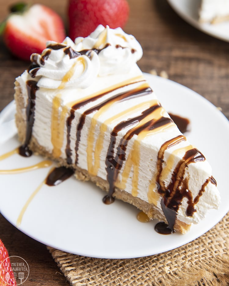 No Bake Cheesecake topped with caramel and chocolate syrup