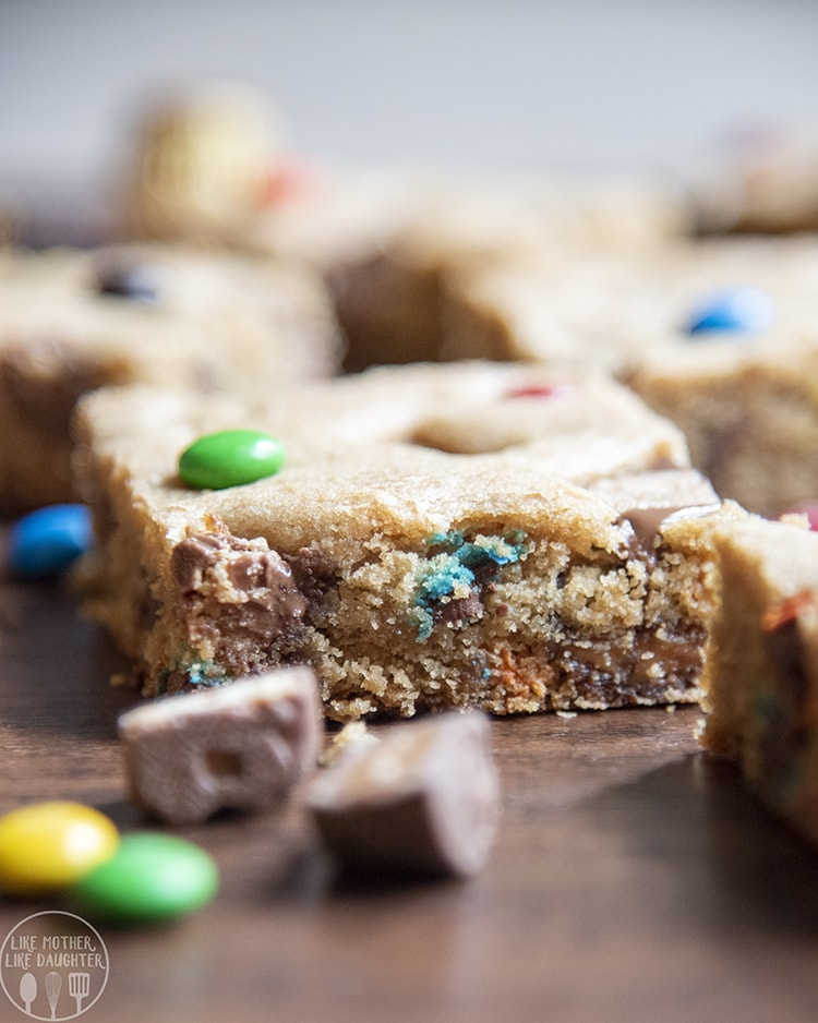 Candy Bar filled cookie Bars