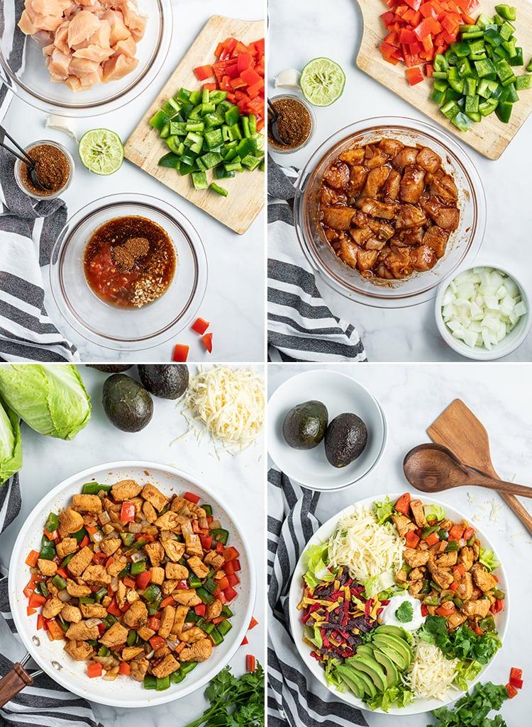 How to make chicken fajita salad