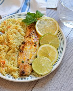 Tilapia fried in a sunny citrus butter for a flavorful, healthy dinner.
