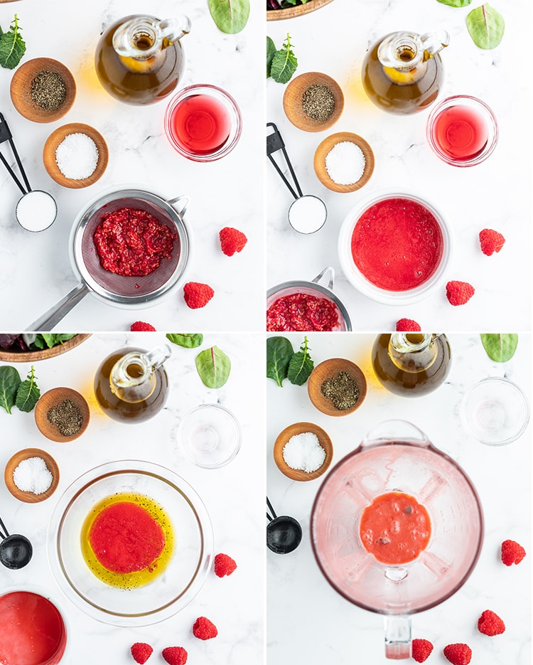 Step by step photos showing how to make raspberry vinaigrette.