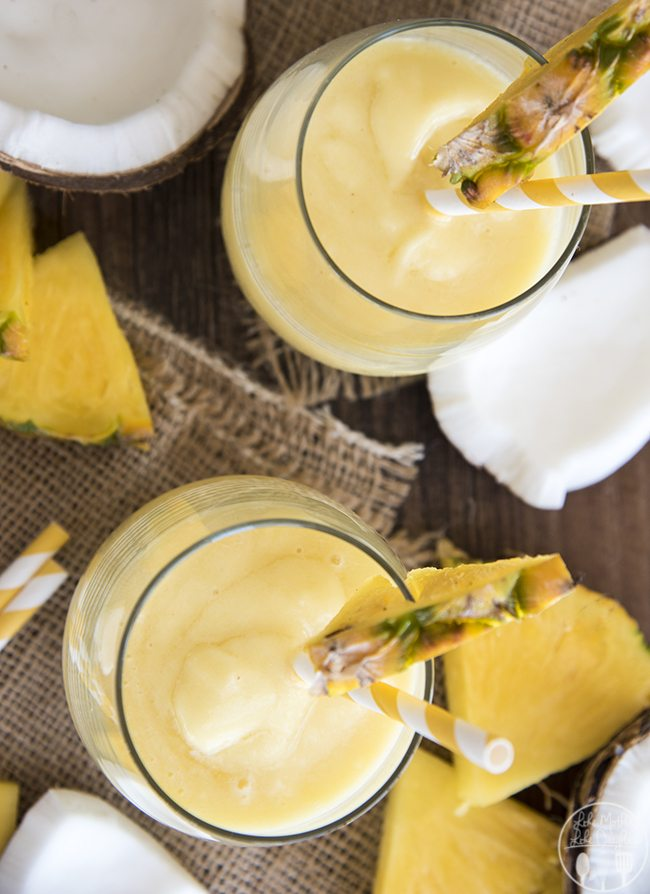 Piña colada recipe virgin smoothie is a perfect refreshing combination of pineapple and coconut that you can enjoy all day long.