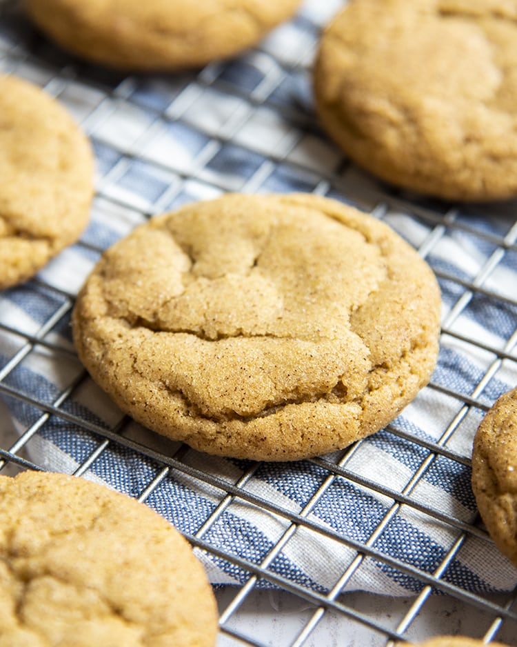 A close up of a pumpkin spice snickerdoodle cookie on a cooling rack.