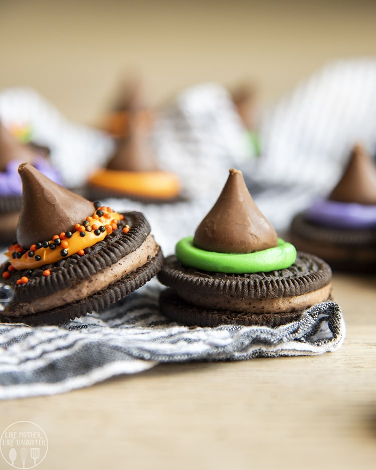 Witch Hat Cookies made with Oreos and Hershey Kisses