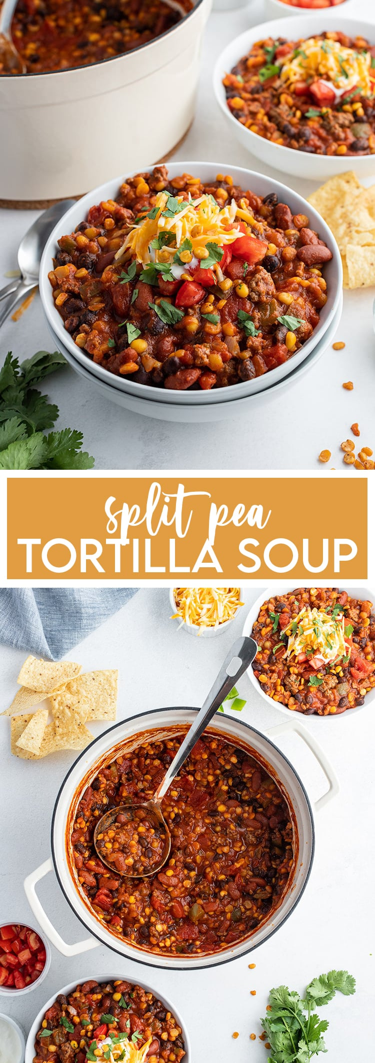 A collage of two photos of Split Pea Tortilla soup with text in the middle for pinterest.