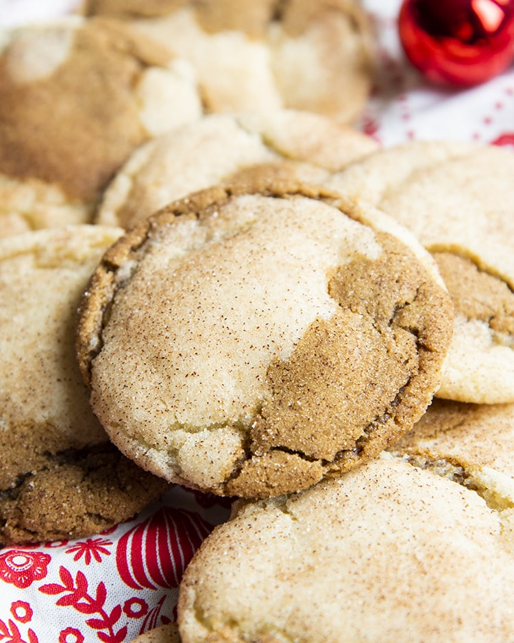 A pile of half snickerdoodle half ginger molasses cookies.