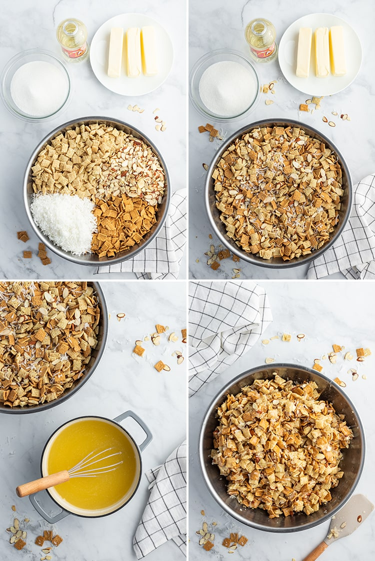Step by step photos how to make gooey coconut chex mix.