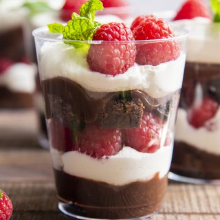 A small cup with a trifle in it with layers of chocolate pudding, whipped cream, raspberries, brownies, and repeat. The cup is topped with a mint sprig.