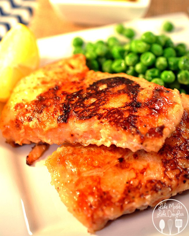 Honey Lime Crusted Salmon - This salmon uses a sweet lime/honey marinade to the flour coated salmon for a refreshing light salmon main dish.