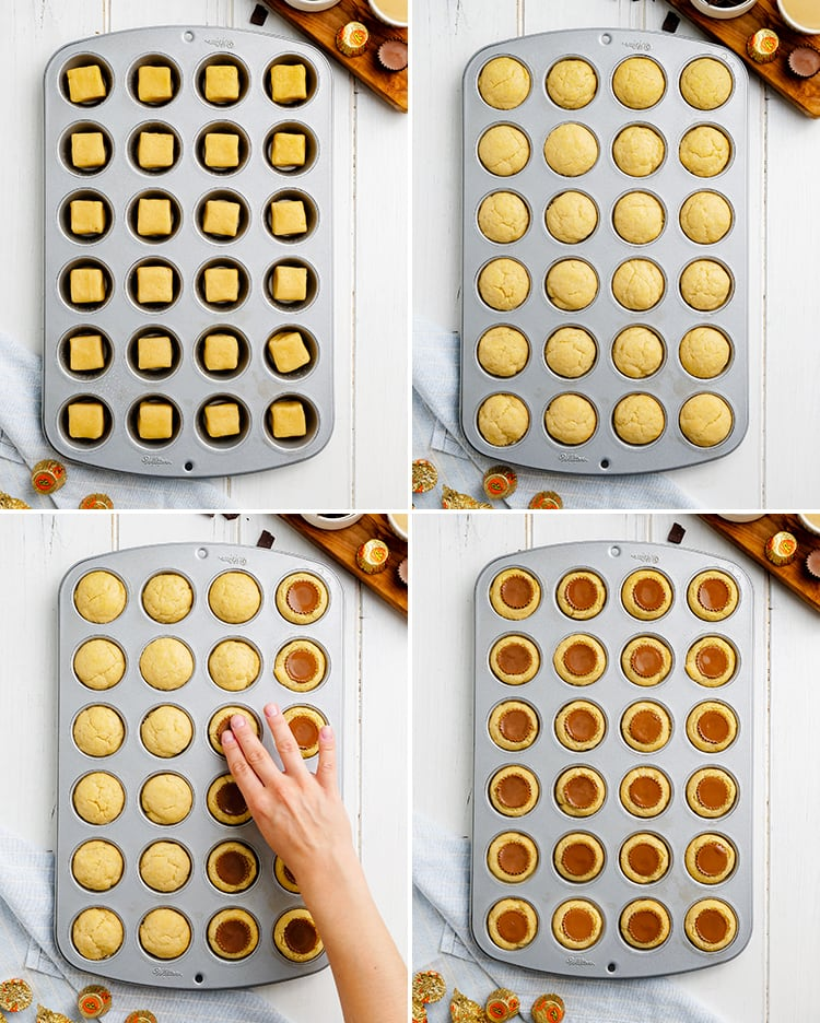 Step by step photos how to make reeses peanut butter cookie cups in a mini muffin tin