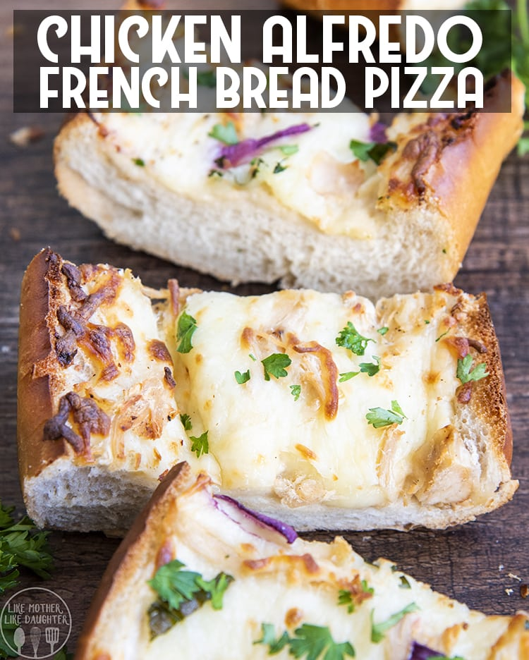 Homemade Chicken Alfredo French Bread Pizza is a perfect hearty meal, that comes together in only about 15 minutes. It's perfect for a weeknight when you want something easy and delicious that the whole family will love.