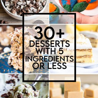 A collage of 10 different desserts that are all made with 5 ingredients or less, with a text overlay saying that.