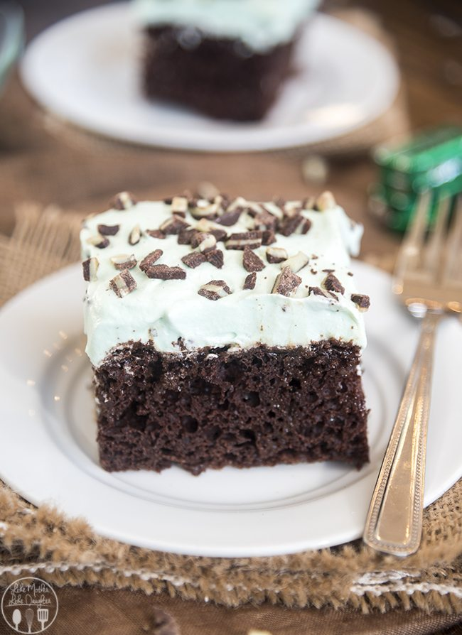 Mint Chocolate Poke Cake - this delicious rich cake starts is filled with a minty hot fudge mixture and topped with a minty whipped cream! Its an amazing mint chocolate dessert for a crowd!