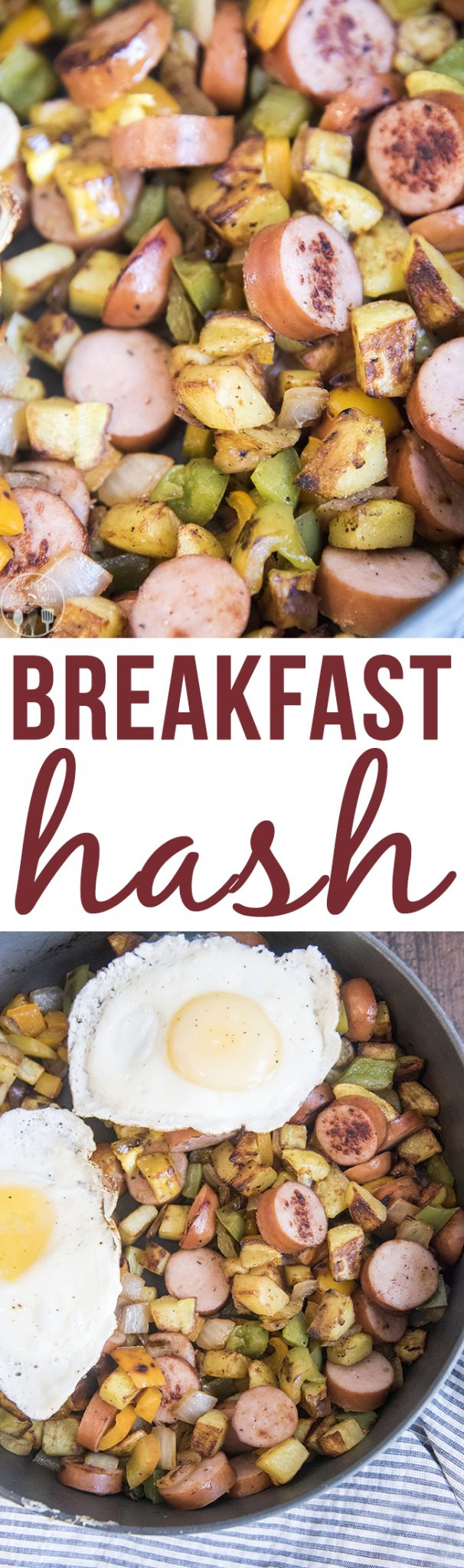 reakfast hash - this This is a delicious combination of potatoes, peppers, onions, and sausage. Great for breakfast or dinner served with a fried egg on top!