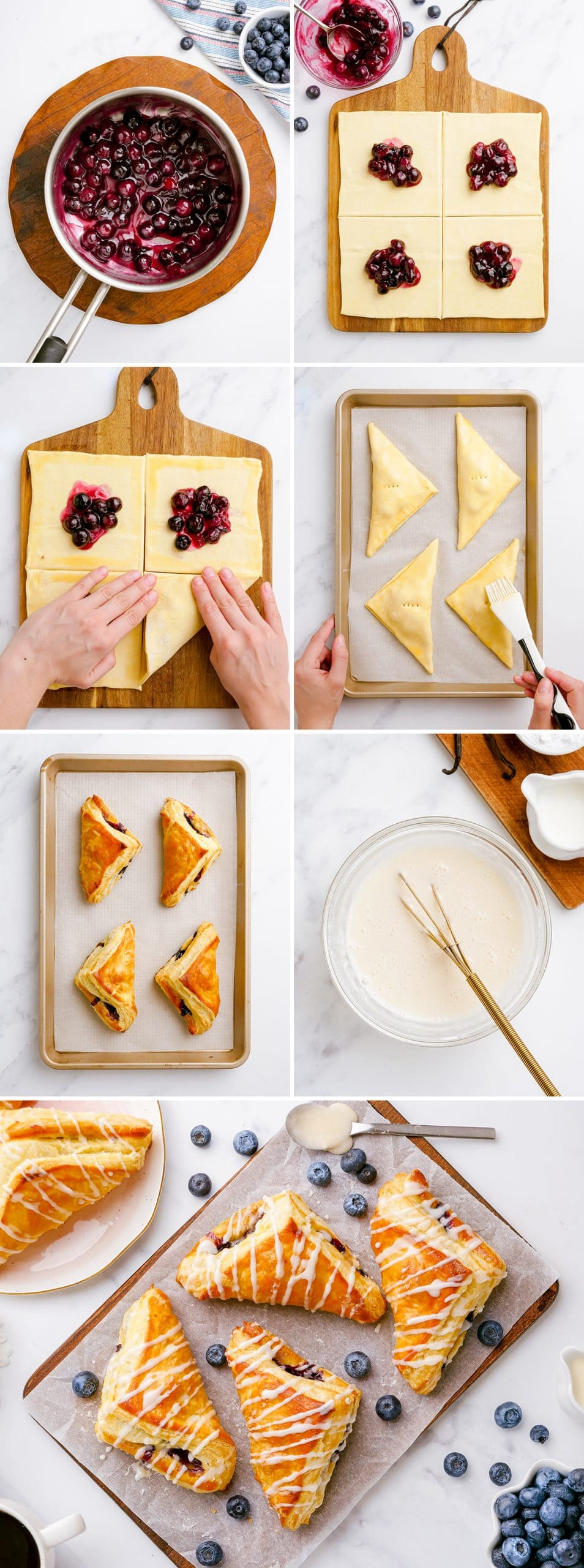 A collage of step by step photos showing how to make blueberry turnovers.