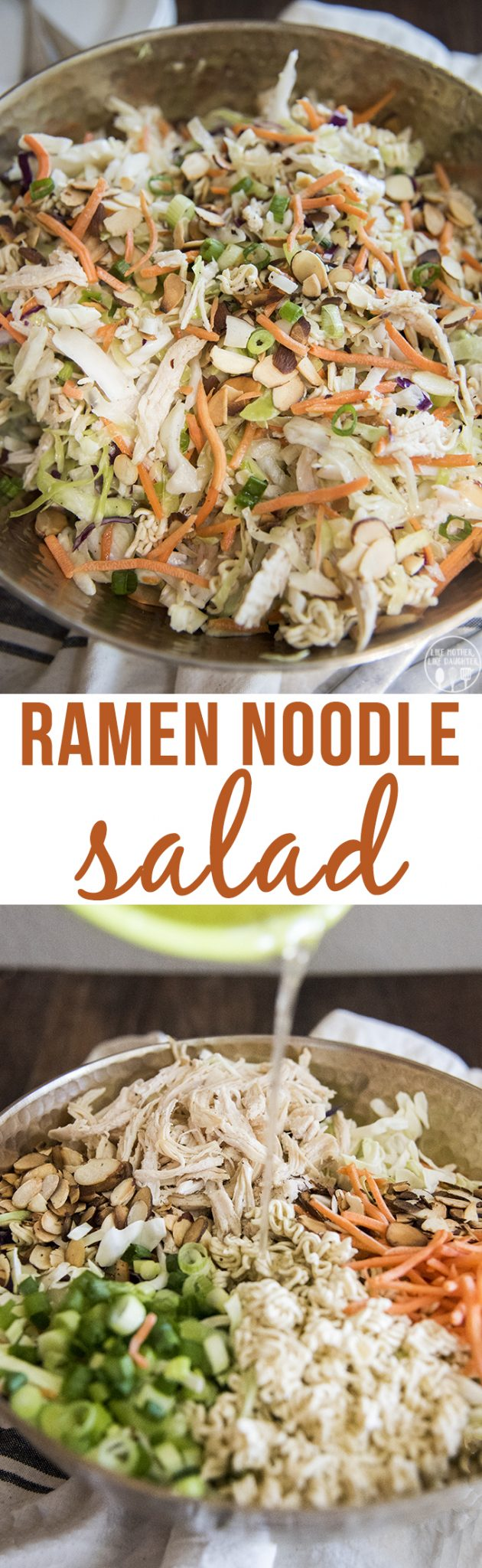 RRamen noodle salad isquick and easy to make. The crunchy salad is covered in a flavorful dressing and is perfect served at a picnic, potluck, or barbecue!